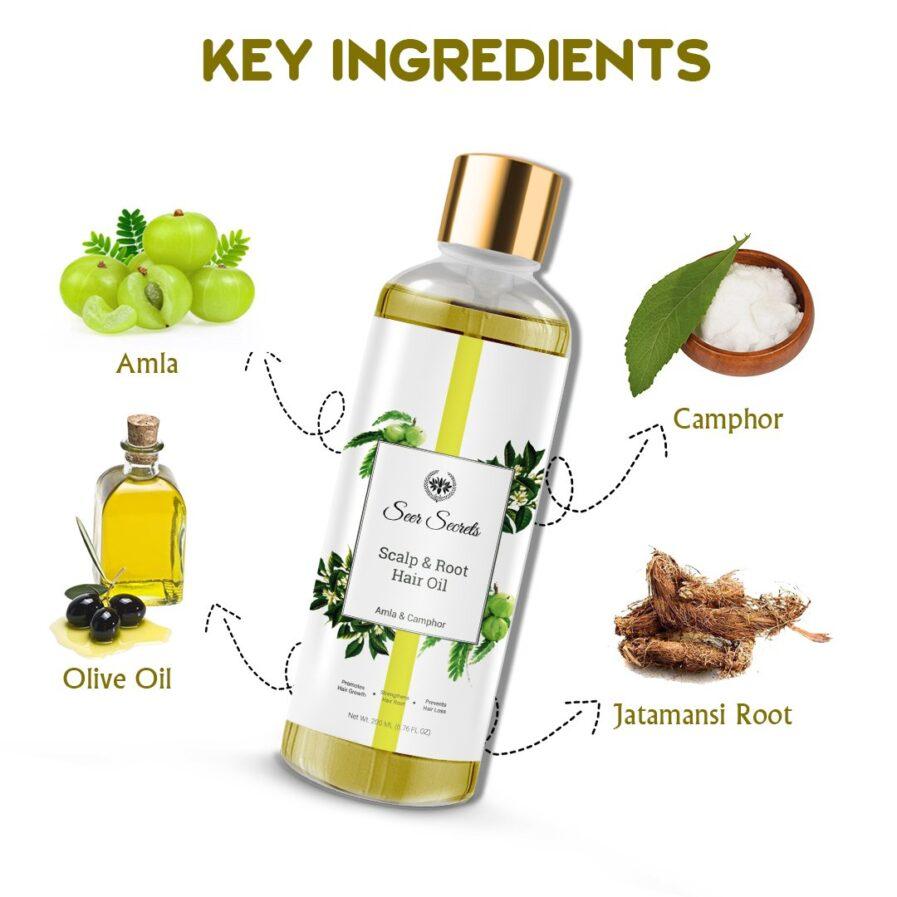 Seer Secrets Scalp & Root Hair Oil (Amla & Camphor) (200ml)