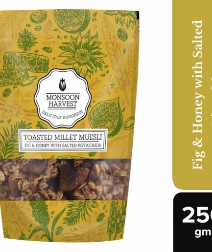 Monsoon Harvest Toasted Millet Muesli Fig & Honey with Salted Pistachios (250gm)