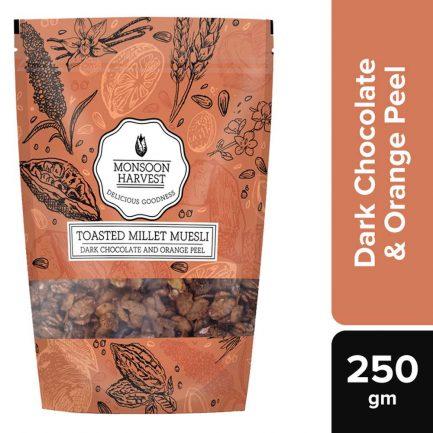 Monsoon Harvest Toasted Millet Muesli Dark Chocolate and Orange Peel (250gm)