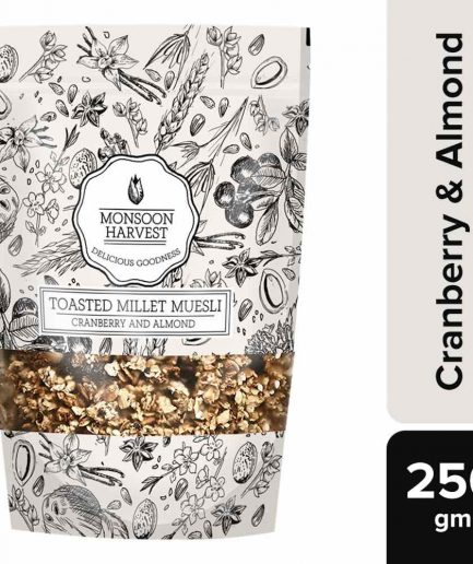 Monsoon Harvest Toasted Millet Muesli Cranberry and Almond (250gm)