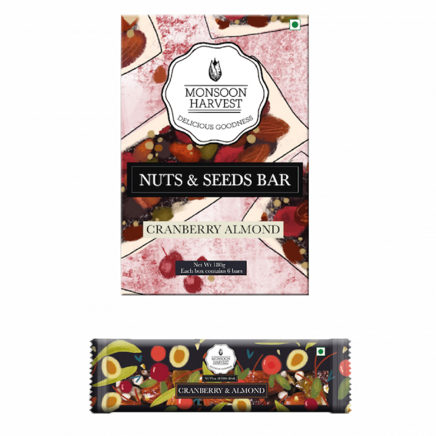 Monsoon Harvest Nuts & Seeds Bar - Cranberry & Almond (Pack of 6)