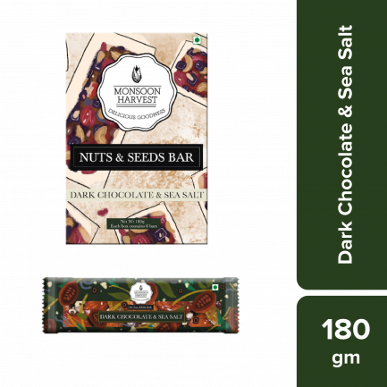 Monsoon Harvest Nuts & Seeds Bars - Dark Chocolate & Sea Salt (Pack of 6)