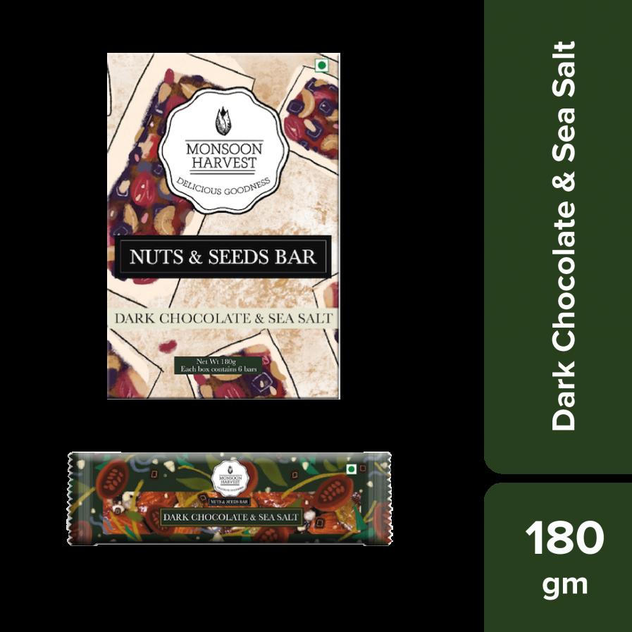 Monsoon Harvest Nuts & Seeds Bars - Dark Chocolate & Sea Salt (Pack of 6)
