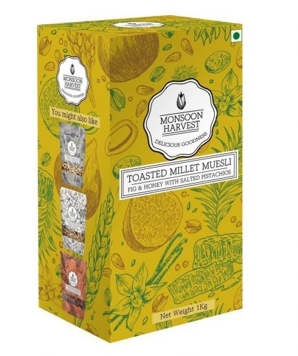 Monsoon Harvest Toasted Millet Muesli Fig & Honey with Salted Pistachios (1 Kg)