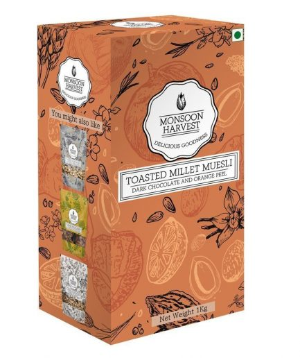 Monsoon Harvest Toasted Millet Muesli Dark Chocolate and Orange Peel (1 Kg)