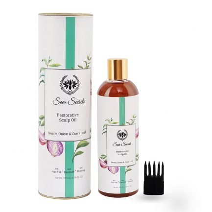 Seer Secrets Onion Hair Oil restorative scalp organic neem curry leave anti-dandruff anti-thinning anti-hairfall hair