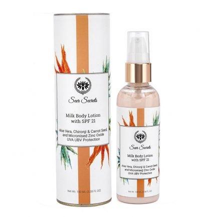 Seer Secrets Milk Body Lotion with Aloe Vera Chironji Carrot Seed