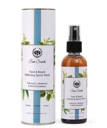 Seer Secrets Face & Beard Softening Spritz Wash with Labdanum, Patchouli & Wild Gooseberry