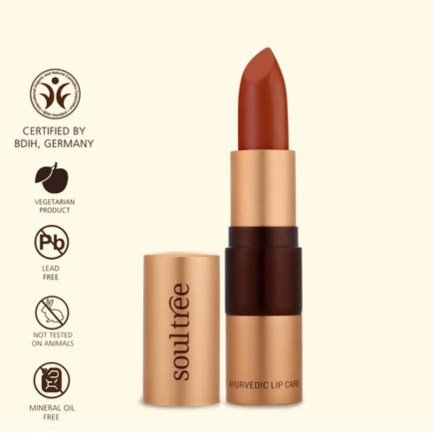 Soultree Lipstick Cantaloupe shade orange red organic makeup cosmetics