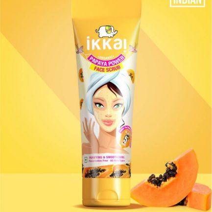 Ikkai Papaya Power Face Scrub Tube - Organic, Preservative Free, Chemical Free & Cruelty Free