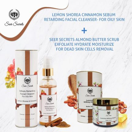 Seer Secrets Lemon Shorea Cinnamon Facial Cleanser and Milking Almond Butter Scrub COMBO