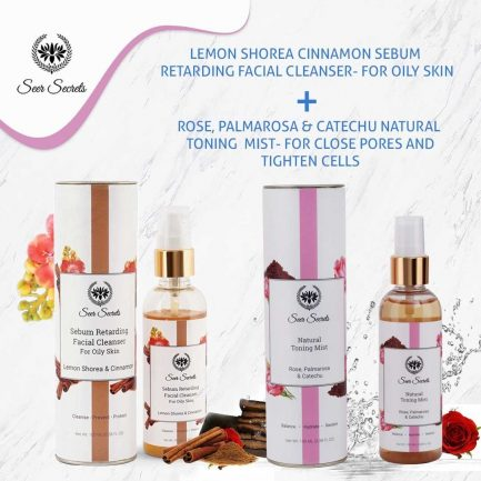 Seer Secrets FACE CARE COMBO - Lemon Shorea Cinnamon Sebum Facial Cleanser and Rose, Palmarosa & Catechu Natural Toning Mist
