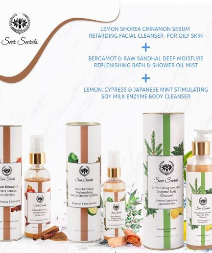 Seer Secrets BATHING COMBO Bath & Shower Oil Bath Cleanser and Facial Cleanser