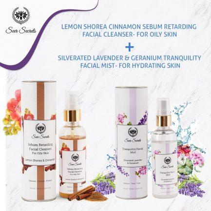 Seer Secrets FACE CARE COMBO - Lemon Shorea Cinnamon Sebum Facial Cleanser and SIlverated Lavender & Geranium Tranquility Facial Mist