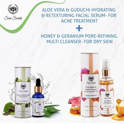 Seer Secrets Aloe Vera Guduchi Facial Serum and Honey Geranium Pore Refining Multi Cleanser COMBO