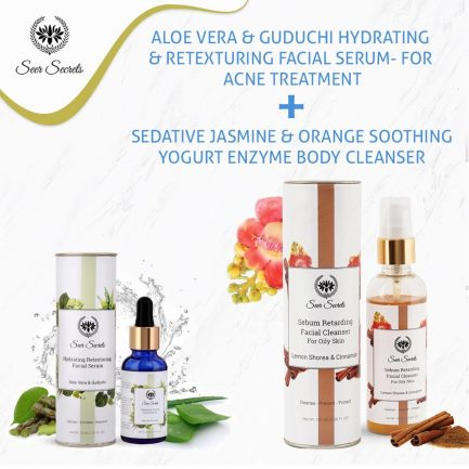 Seer Secrets ANTI ACNE COMBO - Aloe Vera Guduchi Facial Serum and Lemon Shorea Cinnamon Facial Cleanser COMBO