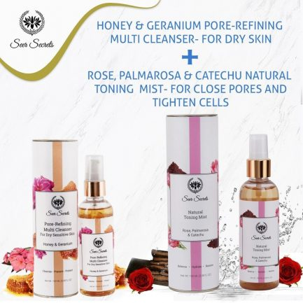 Seer Secrets FACE CARE COMBO - Honey Geranium Pore Refining Multi Cleanser and Rose, Palmarosa & Catechu Natural Toning Mist COMBO
