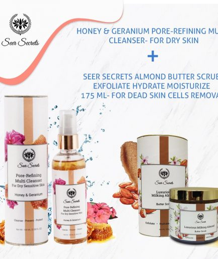 Seer Secrets Honey Geranium Pore Refining Multi Cleanser and Milking Almond Butter Face Scrub COMBO