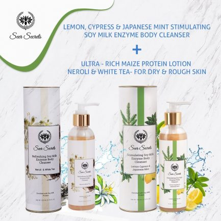 Seer Secrets BODY WASH COMBO - Lemon, Cypress & Japanese Mint Stimulating Soy Milk Enzyme Body Cleanser and Rich Maize Protein Lotion Neroli and White Tea Body Cleanser