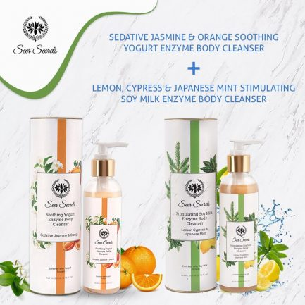 Seer Secrets BODY CARE COMBO - Lemon Cypress & Jasmine Mint Soy Milk Enzyme Body Cleanser and Sedative Jasmine & Orange Deep Moisture Repleneshing Bath Oil Mist