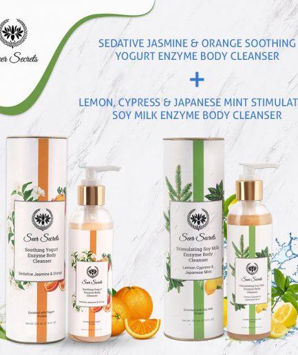 Seer Secrets BODY CARE COMBO - Lemon Cypress & Jasmine Mint Soy Milk Enzyme Body Cleanser and Sedative Jasmine & Orange Deep Moisture Repleneshing Bath Oil Mist