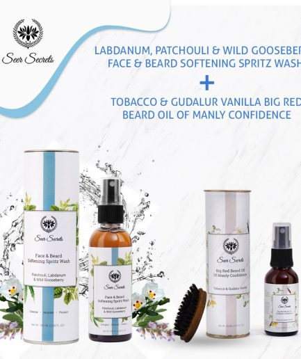 Seer Secrets MEN CARE COMBO - Labdanum, Patchouli Face & Beard Wash and Tobacco & Gudalur Vanilla Beard Oil