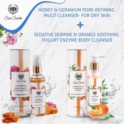 Seer Secrets Sedative Jasmine & Orange Soothing Yogurt Enzyme Body Cleanser and Honey & Geranium Pore-Refining Multi Cleanser COMBO