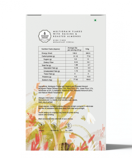Monsoon Harvest High Fiber Breakfast Cereal - Multigrain Flakes With Raisins & Roasted Almonds (400gm)