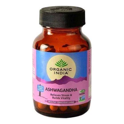 Organic India Ashwagandha Ayurvedic Capsules - Relieves Stress & Builds Vitality