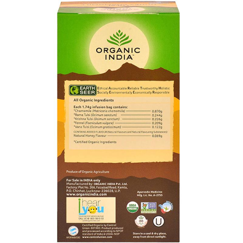Organic India Tulsi Honey Chamomile Tea -Stress Relieving & Calming