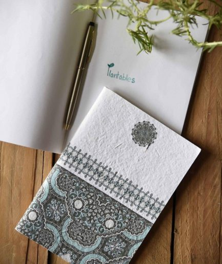 Blue Indian Motif Seed Paper Cover Notebook