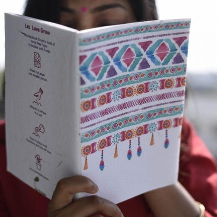 Pink Indian Motif Seed Paper Cover Notebook