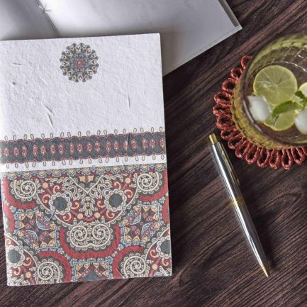 Red Indian Motif Seed Paper Cover Notebook