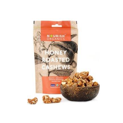 Nourish Organics – Honey Roasted Cashews (100gm)